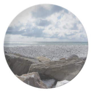 Seashore of a beach in a cloudy day at summer plate