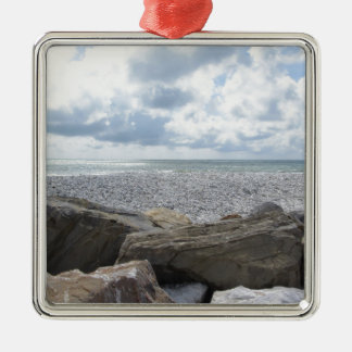 Seashore of a beach in a cloudy day at summer Silver-Colored square ornament
