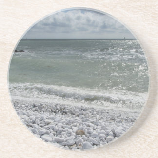 Seashore of beach in a cloudy day at summer beverage coaster