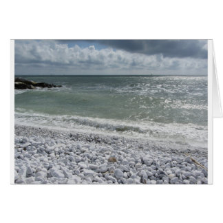 Seashore of beach in a cloudy day at summer card