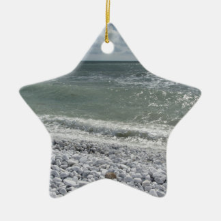 Seashore of beach in a cloudy day at summer ceramic ornament
