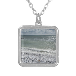 Seashore of beach in a cloudy day at summer silver plated necklace