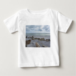 Seashore of beach with sailboats on the horizon baby T-Shirt