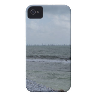 Seashore of beach with sailboats on the horizon iPhone 4 Case-Mate cases