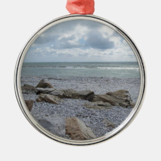 Seashore of beach with sailboats on the horizon Silver-Colored round ornament