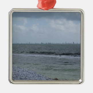 Seashore of beach with sailboats on the horizon Silver-Colored square ornament