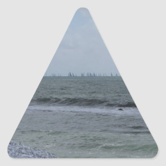 Seashore of beach with sailboats on the horizon triangle sticker