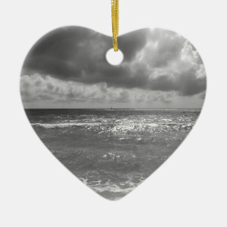 Seashore of Marina di Pisa beach in a cloudy day Ceramic Heart Ornament