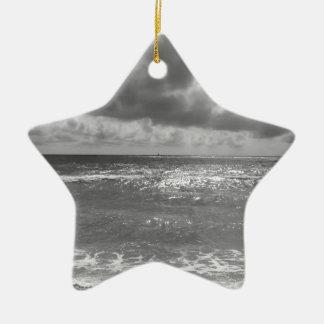 Seashore of Marina di Pisa beach in a cloudy day Ceramic Star Ornament