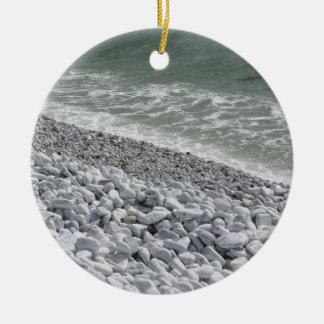 Seashore of Marina di Pisa beach in a cloudy day Round Ceramic Ornament