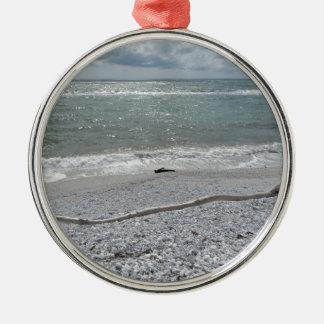 Seashore of Marina di Pisa beach in a cloudy day Silver-Colored Round Ornament