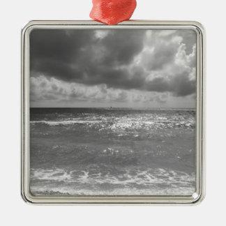 Seashore of Marina di Pisa beach in a cloudy day Silver-Colored Square Ornament