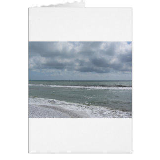 Seashore of Marina di Pisa beach with sailboats Card