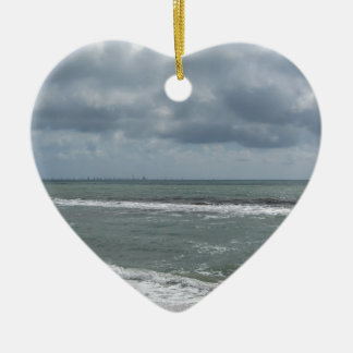 Seashore of Marina di Pisa beach with sailboats Ceramic Heart Ornament