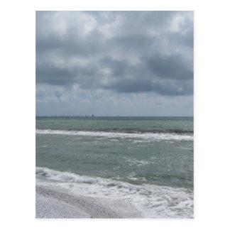 Seashore of Marina di Pisa beach with sailboats Postcard