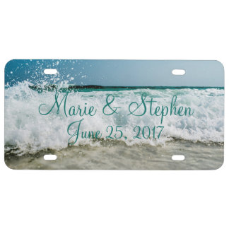 Seashore Seascape Waves Beach Wedding Personalized License Plate