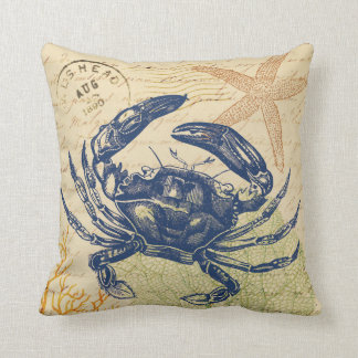 Seaside Blue Crab Collage Throw Pillow