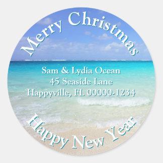 Seaside Christmas Tropical Address Labels