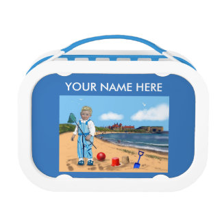 "Seaside coastal  scene ''cute boy"" customise lunch boxes"