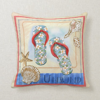 Seaside Flip Flops art Pillow