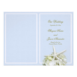 Seaside Garden Starfish Wedding Program Cover Customized Letterhead