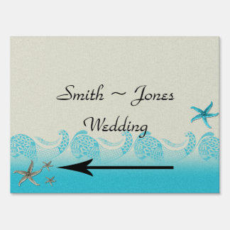 Seaside in Sand and Aqua Wedding Direction Sign