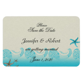 Seaside in Sand and Aqua Wedding Save the Date Rectangular Photo Magnet