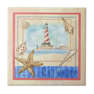 """Seaside Lighthouse """"Refresh"""" Beach Tile"""
