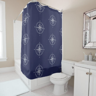 Seaside Nautical Blue White Coastal Bathroom