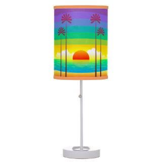 Seaside Palm Trees Sunset Table Lamp