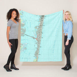 Seaside Park & NJ Shore Map (1989) Fleece Blanket
