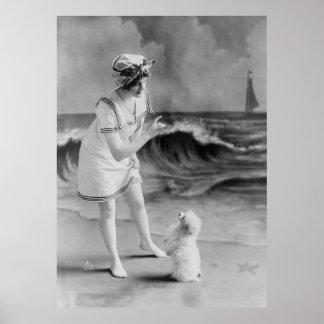 Seaside Pet Tricks, 1910s Poster