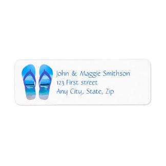 Seaside Photo on Flip Flops Sandals Custom Label