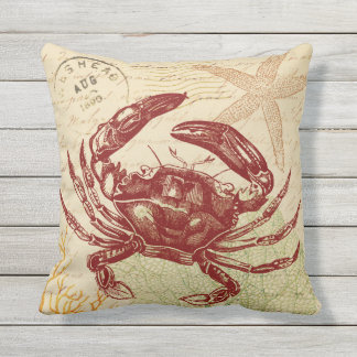 Seaside Red Crab Collage Throw Pillow