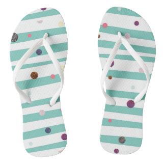 Seaside stripes and glitter dots flip flops