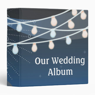 Seaside Summer Evening Lights & Fireworks Wedding Vinyl Binders