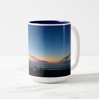 Seaside sunset. Night fishing with the boys Two-Tone Coffee Mug