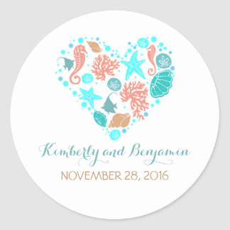 Seaside Treasures Pearls Heart Nautical Wedding Classic Round Sticker