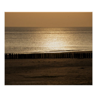 Seaside view - on the beach at sundown poster