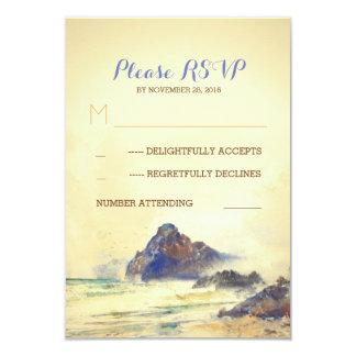 Seaside watercolor painted wedding RSVP's Card