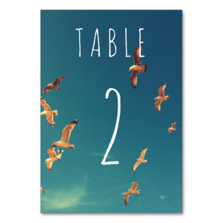 Seaside Wedding Table Card with number