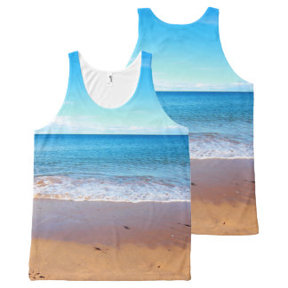 Seaside with beach and ocean, print all over All-Over-Print tank top