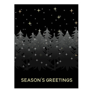 Season Greetings Black Night Sky Stars Gold Silver Postcard