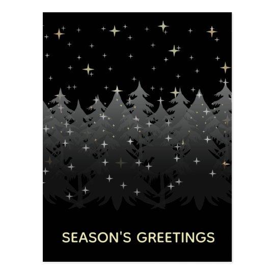 Season Greetings Black Night Sky Stars Gold Silver Postcard
