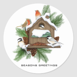 Season Greetings Classic Round Sticker