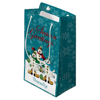Season Greetings Snowmen Friends   Christmas Small Gift Bag