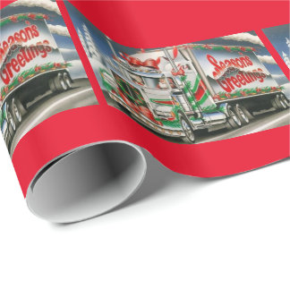 Season Greetings Trucking Santa Wrapping Paper