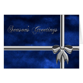 Season's Greetings gift, blue & silver wrapping Card