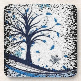 Seasonal Blue Cork Coasters