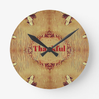 Seasonal Fall 'Thankful' Design Tote Round Clock